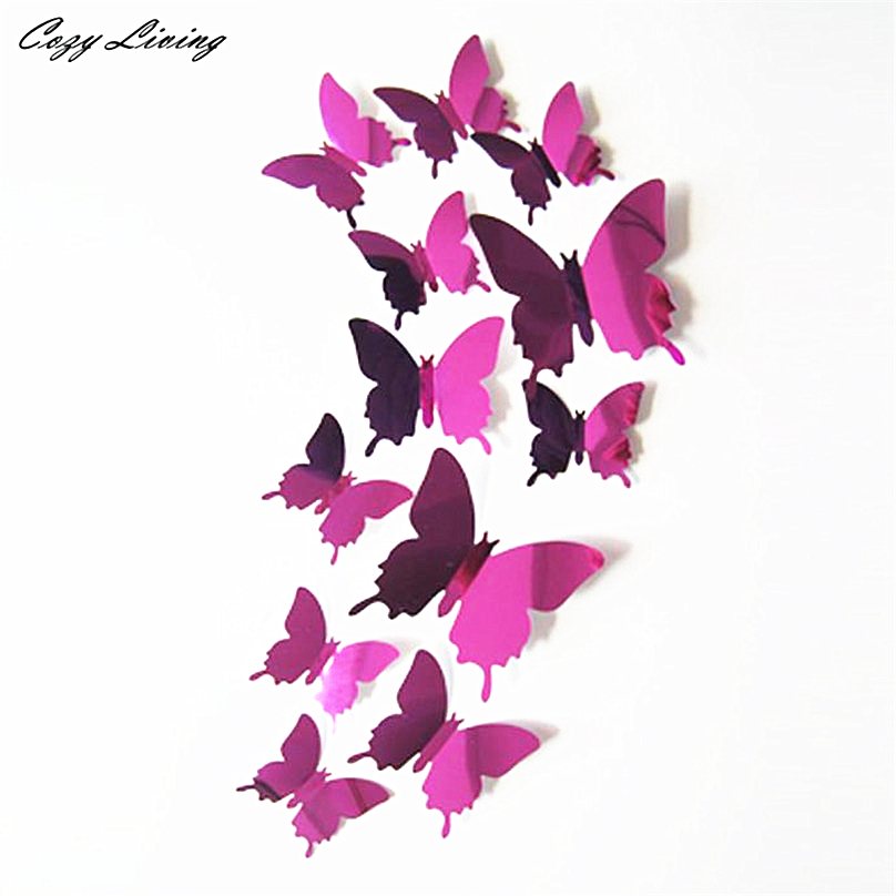 New Qualified Wall Stickers 12pcs Decal Mirror Wall Stickers Home Decorations 3D Butterfly PVC Wallpaper for living room