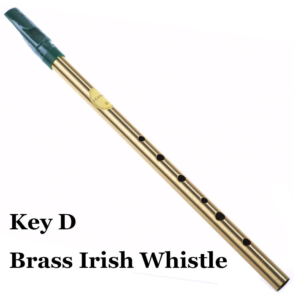 Silbato de latón irlandés Clave D Irlanda Flauta Feadog Silbato de metal Feadan de bolsillo de 6 hoyos Instrumento musical Flauta tradicional