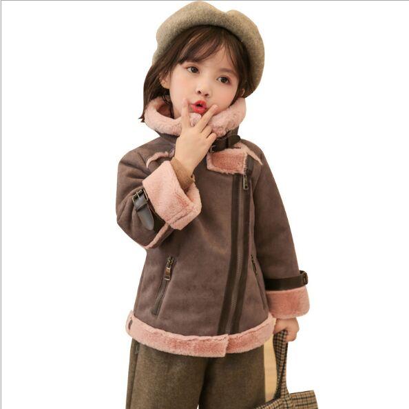 Fashion! Little Girls Suede Leather Jackets 2019 Girls Faux Rex Rabbit Fur Winter Coats Baby Girl Pink Fur Tops Kid Outerwear