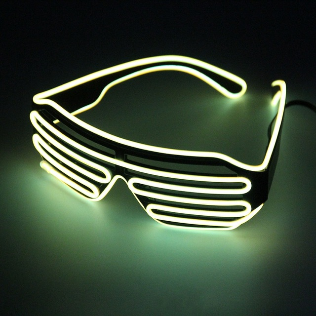 Neon Fio EL LED Light Up Shutter Óculos Quadro Brilho Festa de Dança Boate NOVA Cor Aleatória
