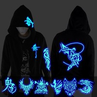 Ghost Step Dance Clothes Drag Step Costume Loose Coat Even Ghost Hoodie Hat Fluorescence Serve Men