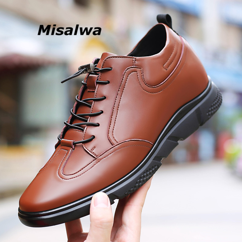 Misalwa 5 CM / 7 CM Height Increase Leather Casual Men Sneaker Fashion Male Elevator Shoes Comfortable Young Men Daily FootwearMisalwa 5 CM / 7 CM Height Increase Leather Casual Men Sneaker Fashion Male Elevator Shoes Comfortable Young Men Daily Footwear