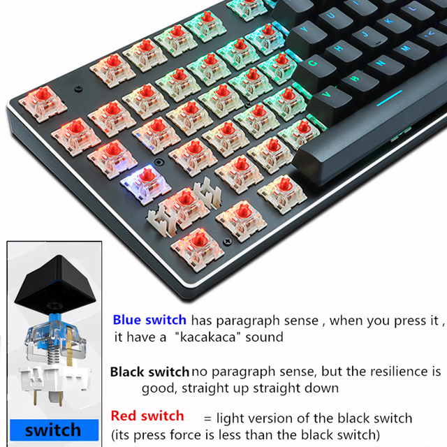 Gaming Mechanical Keyboard Blue Red Switch 87key RU US Wired Keyboard Anti ghosting RGB Mix