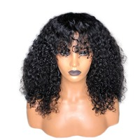 Deep Curly 13X6 Lace Front Human Hair Wigs With Bangs Deep Part Lace Front Wig Brazilian Pre Plucked Remy 180&150 Density Prosa