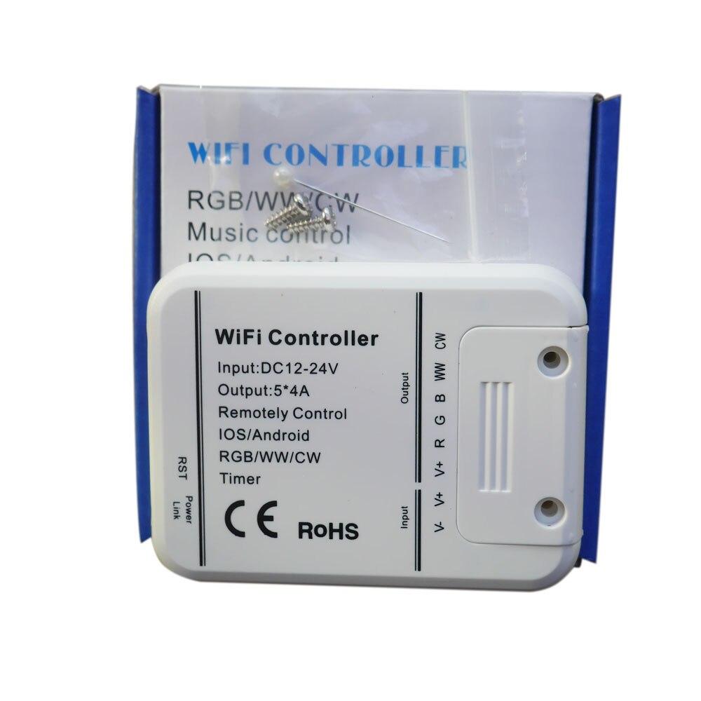Controlador de led RGB/WW/CW Wifi 5 canais, 16 milhões de cores smartphone música de controle e modo de temporizador magia casa wi-fi levou controlador