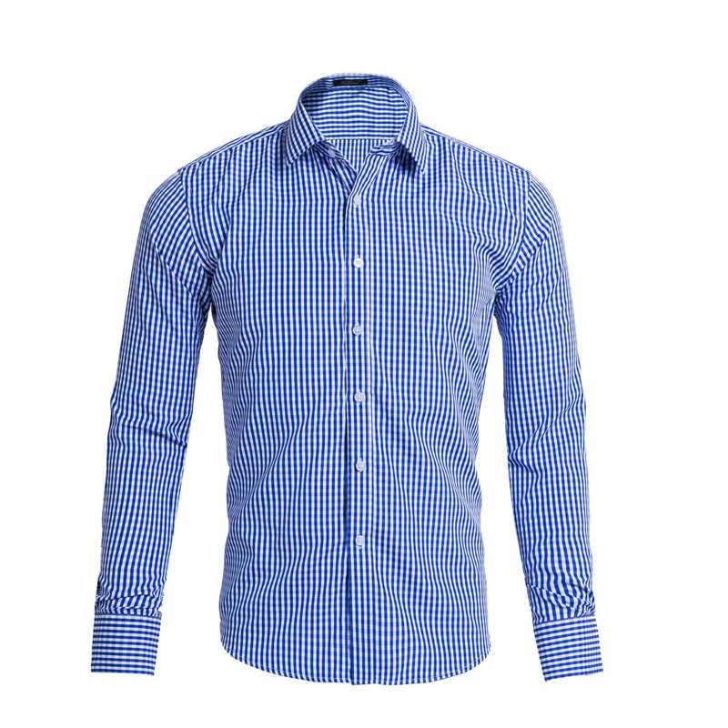 小さな格子縞のシャツ 2017 ブランド新ロングスリーブコットンシュミーズオムカジュアルスリムフィットメンズドレスシャツカミーサソーシャル黒 XXL
