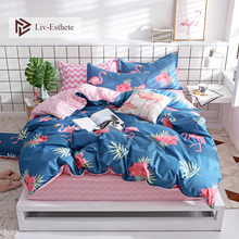 Liv-Esthete Fashion Flamingo Blue Bedding Set High Quality Soft Duvet Cover Pillowcase Bed Linen Fitted Sheet For Gift Hot Sale
