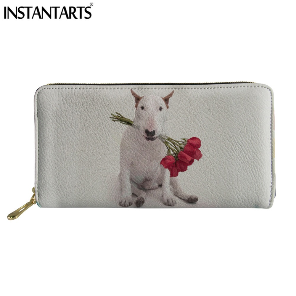 INSTANTARTS Cute Bull Terrier Flower Ladies Wallet Women's long Leather Coin Card Holder for Purse Travel Clutch Zipper Carteras