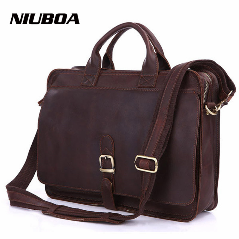 NIUBOA Genuine Leather Bag Men Leather Laptop Briefcase Casual Real Leather Business Handbags Portable Travel Bags Shoulder Bag kvky business genuine leather men handbags vintage men shoulder bag natural real cowhide men laptop briefcase hand travel bags