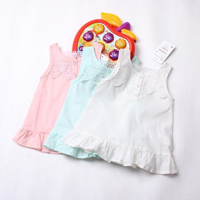 Девочка лето рукавов 100% хлопок футболки детские девушки кружева жилет рубашка