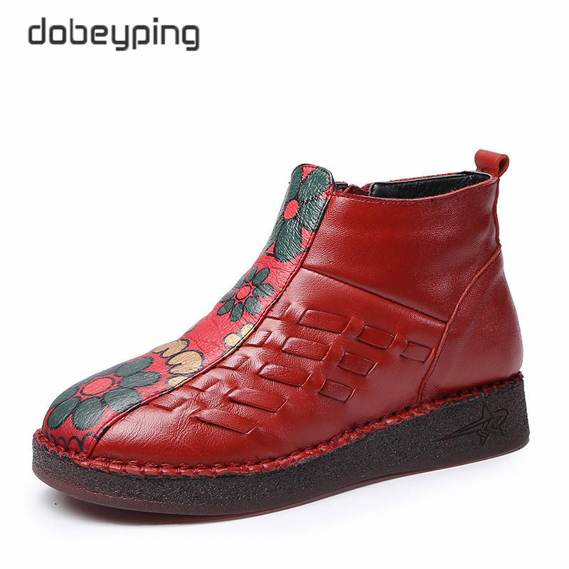 dobeyping Fashion Print Female Winter Cotton Shoe Keep Warm Women Snow Boots Genuine Leather Woman Ankle Boots Plush Women Shoes fashion keep warm winter women boots snow boots 2017 buckle cotton boots women boots shoes