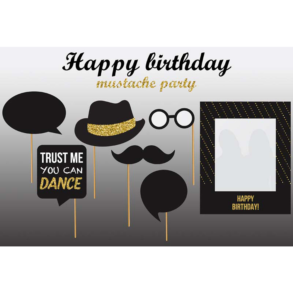 Customized Happy Birthday Backdrop Printed Hat Glasses Mustache Party Themed Photo Booth Background Fondo Fotografico