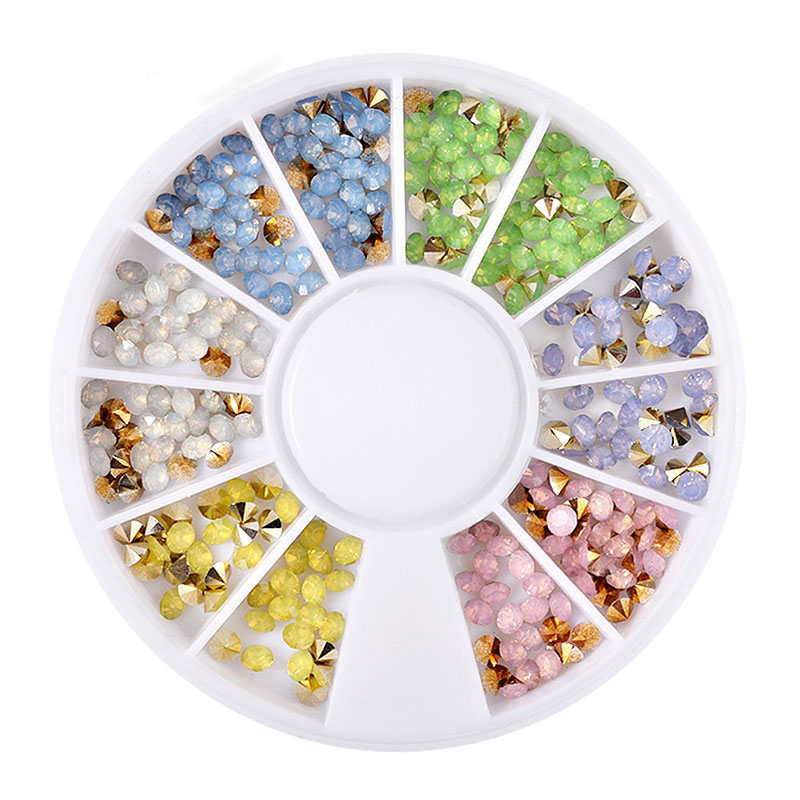 1 Pc 12 Grids 3D Gem Gillter Rhinestone Imitation Pearl Sequins For DIY Beauty Nail Art Wheel Decoration Accessories ...