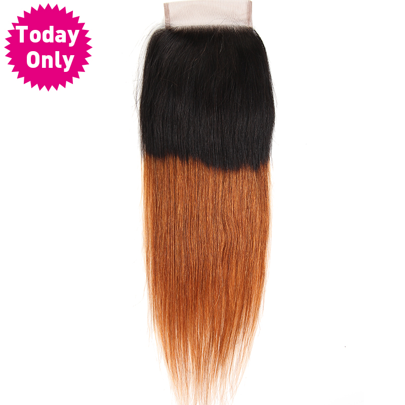 TODAY ONLY Ombre Brazilian Straight Hair Lace Closure With Baby Hair Two Tone Human Hair