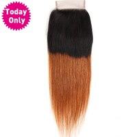 [היום רק] סגירת תחרה שיער חלק ברזילאית עם תינוק שיער Ombre שני טון שיער אדם חבילות 1b 30 ללא רמי הארכת שיער