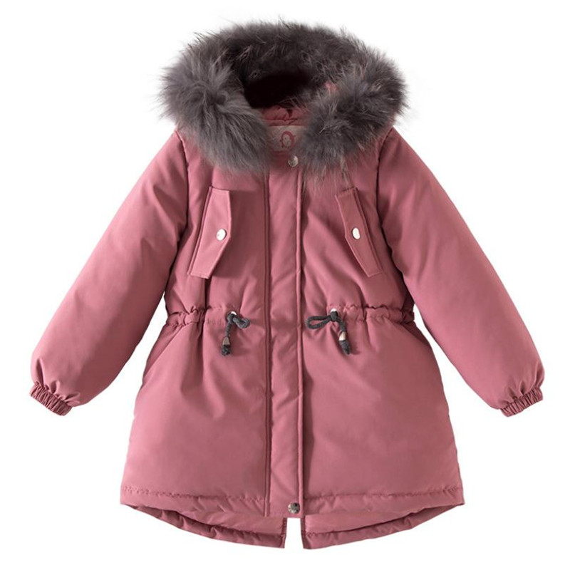 DFXD High Quality Winter Teen Girls Long Thicken Warm Cotton Padded Coat Flower Embroicery Big Fur Collar Hooded Zipper Outwear 2017 fashion winter jacket coat women long thicken down cotton padded faux big fur collar warm female outwear parkas woman