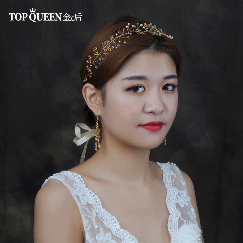 TOPQUEEN HP111 Wedding Handmade Headband With Champangne Pearls And Crystal Beaded Bridal Hairband  Wedding Hair  Accessories