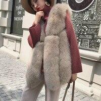 Real Fox Fur Vest Women New Fashion Pink Women Female Winter Autumn Thick Warm Genuine Fox Fur Gilet Natural Blue Fox Fur Vest