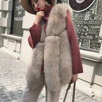 Real Fox Fur Vest Women New Fashion Pink Women Female Winter Autumn Thick Warm Genuine Fox Fur Gilet Natural Blue Fox Fur Vest