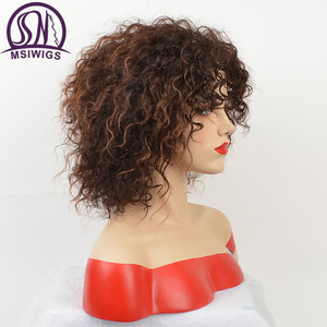 Image 2 - MSIWIGS Afro Medium Wigs for Women Ombre Brown Color Hair Synthetic Wig with Highlight