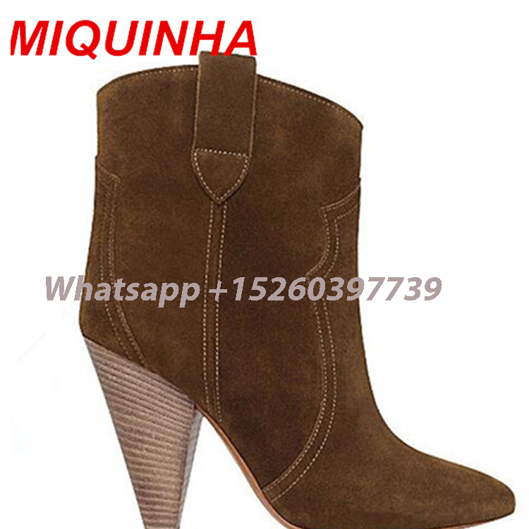New Botas Femininas Etoile Botines Mujer Suede Ankle Boots Spring Autumn Boots High Heel Fashion Boots Women Boots Shoes Woman