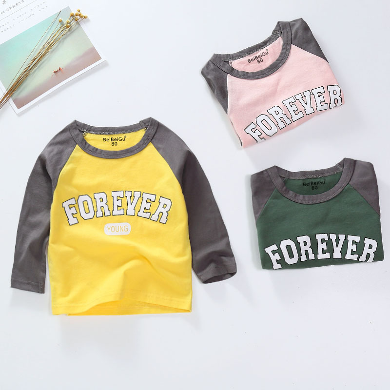Casual Girls Boys Autumn Spring Letter Cotton T-shirt Children Clothes Baby Long Sleeve Tops Tees Blouse(China)