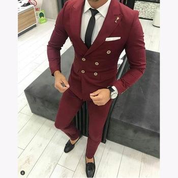 doble nueva 2017 boda chaqueta botonadura Borgoña hombres de traje 0d4qdHn