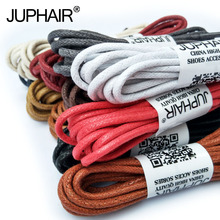 JUP1-12 Pair Whiter Casual Leather Laces High Quality Waxed Round Shoelaces Shoestring Boots Sports Shoes Cable Ropes Sneakers