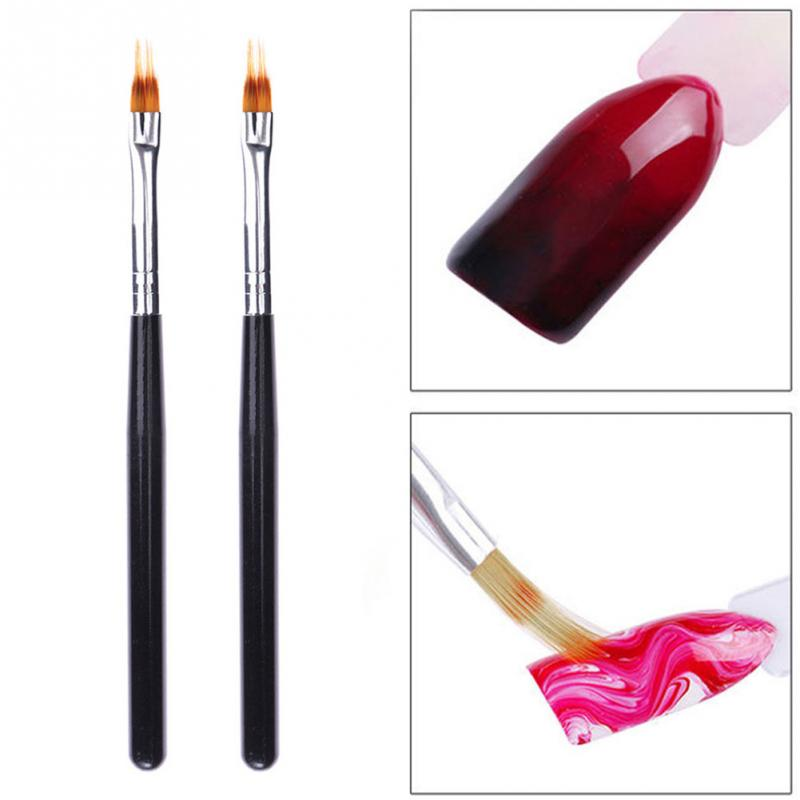 1PC Wood Handle Nylon Hair Ombre Brush Nail Art Brushes Soft Professional Nails Manicure Tools For Gradient UV Gel Nail