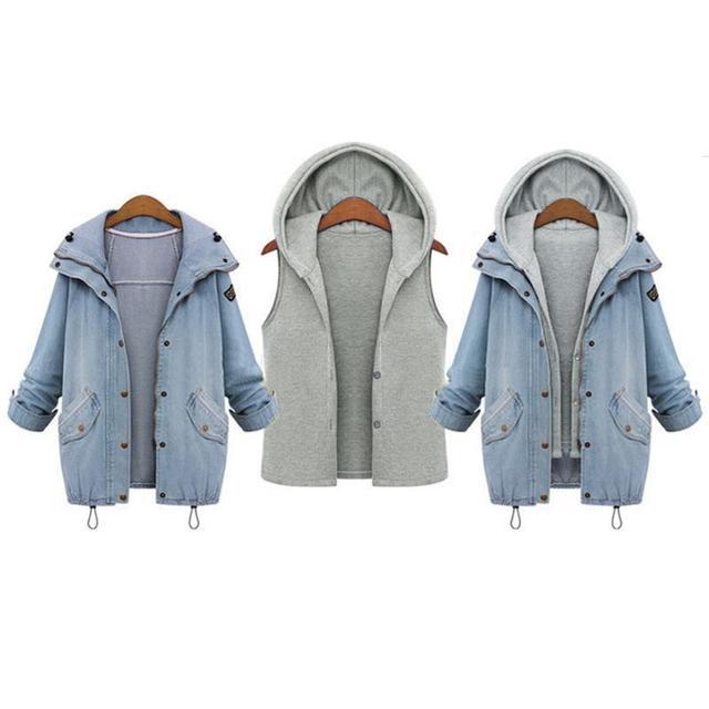 Женщины Повседневная Трикотажные Джинсовая Куртка Из Двух Частей Установить Джинсовую Куртку С Капюшоном Плюс Размер Крупногабаритные Повседневный Женский Пальто И Пиджаки