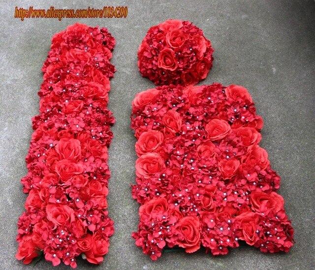 10pcslot red artificial silk rose hydrangea flower wall table 10pcslot red artificial silk rose hydrangea flower wall table centerpiece flower ball flower runner mightylinksfo