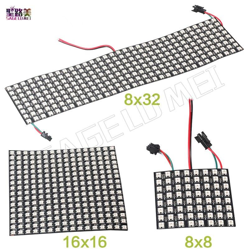 DC5V 8*8/16*16/8*32 cm Pixel WS2812B LED panneau polychrome numérique Flexible individuellement adressable Flex RGB lumières panneau d'affichage