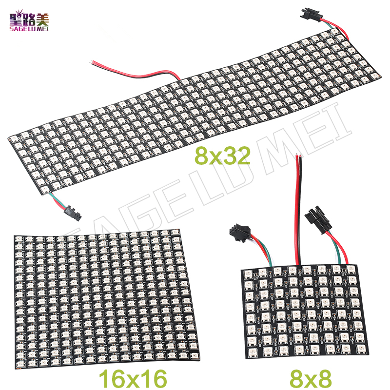 DC5V 8 8 16 16 8 32cm Pixel WS2812B LED Full Color Panel Digital Flexible Individually addressable Flex RGB Lights Display Board