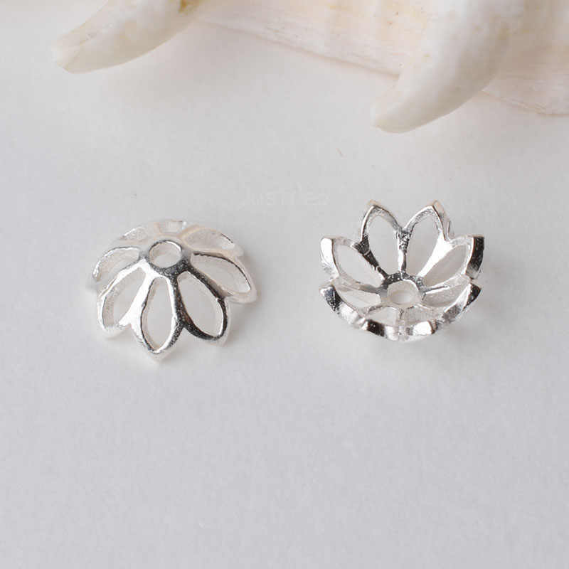 Solid 925 sterling silver flower bead cap, del branello del distanziatore Cappellini, gioielli fai da te semilavorati in argento/componenti
