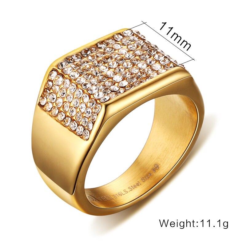 LIN STUDIO Luxury Brand Men Jewelry Mens Signet Rings Gold color ...
