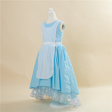 Free Shipping Retail 1pc 2015 New Girls Movie Cosplay Costume Fairy Cinderella Princess Dress Fancy Bows