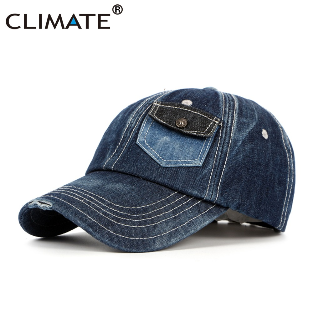 CLIMATE Men Denim Baseball Caps Casual Jeans Wear High Quality Cap Men Women Fashion Adjustable One Size Navy Blue Cool Hat Caps climate game of thrones caps hodor hold the door adjustable baseball caps unisex men women jon snow stark black cool hat caps