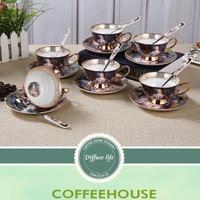 200ML coffee porcelain cup and saucer fine porcelain vintage tea cup set craft tea cup with saucer, porcelain coffee cup 6JOP08