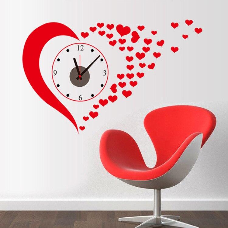 Aliexpresscom Diy Red Heart Wall Stickers Clock Home