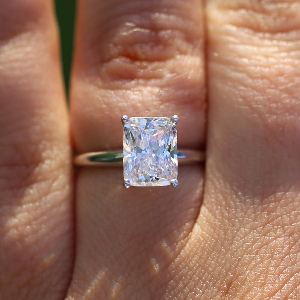 14K White Gold Cushion 5.3 Carat 9x11mm DF Moissanite Engagement Halo Ring Lab Diamond Solitaire Wedding for Women