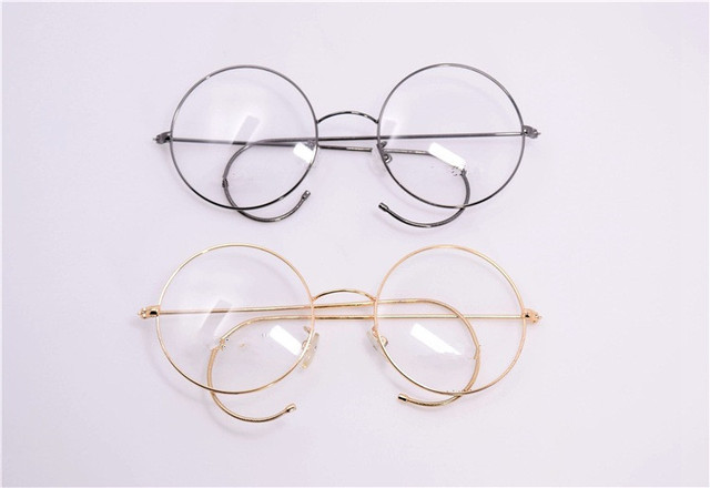 New Retro Women Metal Round Glasses Frame With Ear Hook Adjustable Men Over Size  Plain MirrorEyeglasses
