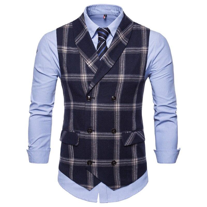 Riinr, новинка, приталенный мужской жилет, повседневный костюм, жилет для мужчин, Клетчатый Стиль, для мужчин, Chalecos Hombre, деловая одежда, жилет без рукавов, жилет - Цвет: Navy