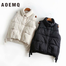 AOEMQ Cotton Coat Outwear Winter Vest Thick Section Keep Warm Vest Coat Turn-down Collar Solid Cold Season Coat Women's Clothing