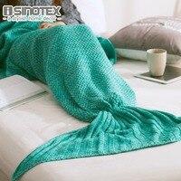 Mermaid Tail Blanket Yarn Knitted Handmade Crochet Mermaid Blanket Kids Throw Bed Wrap Super Soft Sleeping