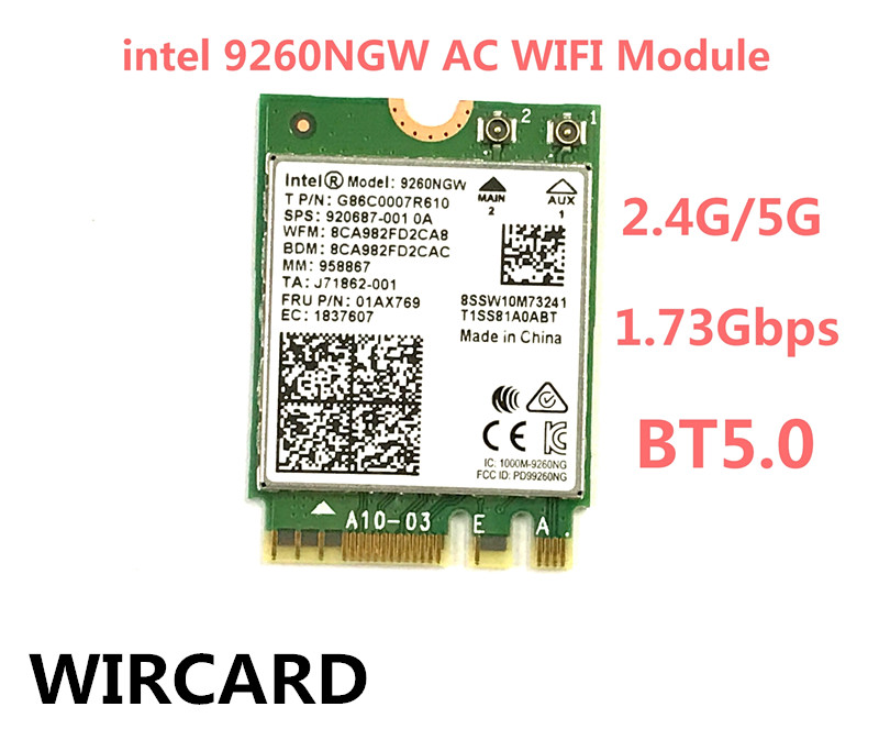 1730Mbps Wireless 9260NGW Wifi Network Card For Intel 9260 Dual Band NGFF 2x2 802 11ac Wifi Bluetooth 5 0 for Laptop Windows 10