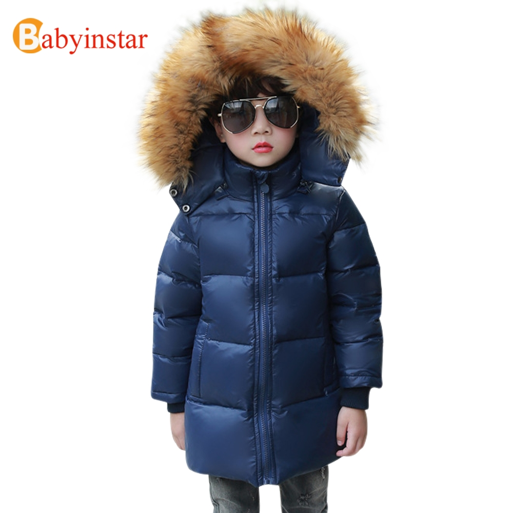 Babyinstar Boys Down Jacket 2017 New Arrival Children's Clothing Winter Thick Warm Outwear with Big Fur Collar Kids Parkas Coat russia winter boys girls down jacket boy girl warm thick duck down