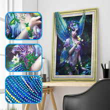 цены 5d DIY Butterfly Girl Diamond Embroidery Special Shape Diamond Embroidery Rhinestone Crystal Painting Home Decoration 40x50cm