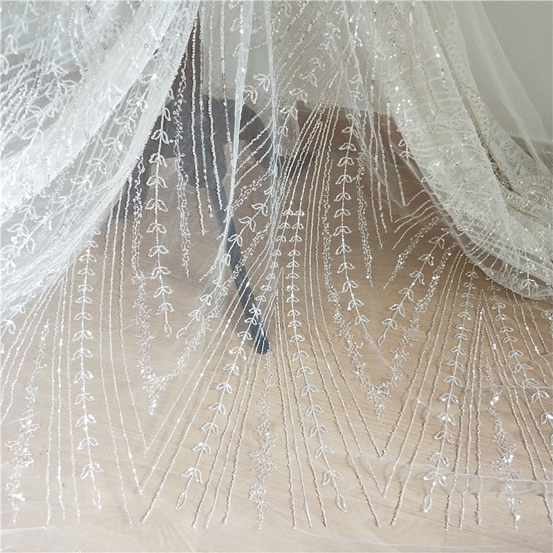 1 Yard Super luxury Full Silver Beaded Off White Tulle Lace Fabric by Yard Haute Couture Elegant Bead Lace Fabric in Fabric from Home Garden