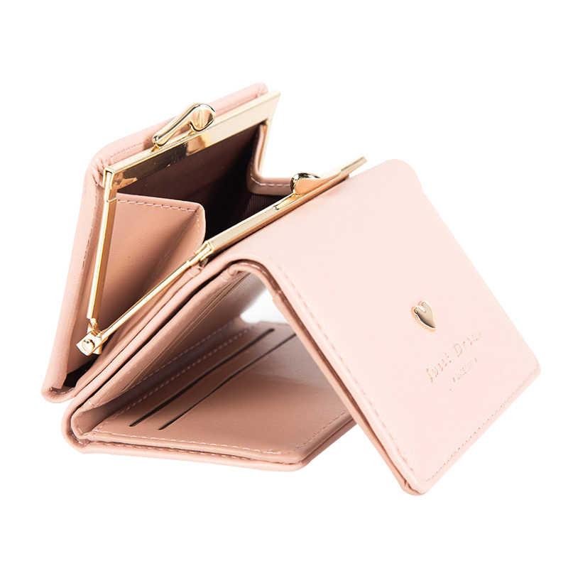 c2540e059887 Замок Sweet Heart Для женщин кожаный бумажник короткий женский Кошелек  Trifold кошелек для монет многофункциональный держатель