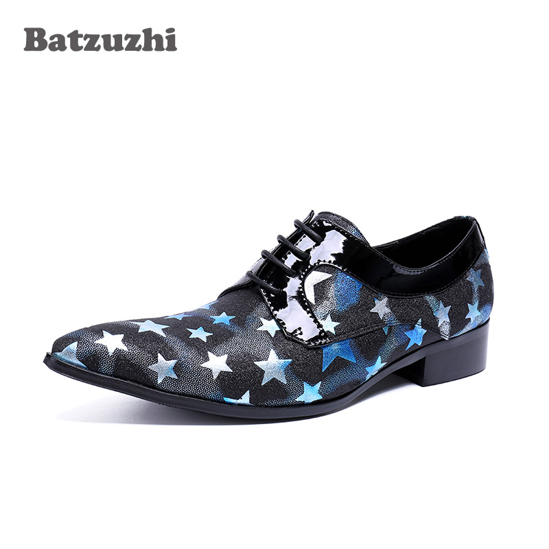 Handmade Dress Shoes Men Pointed Toe Black Blue Genuine Leather Shoes Men with Stars Lace-up Party, Runway Business Shoes Men